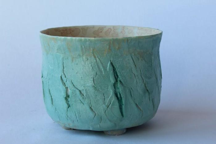 Alain Fichot bol porcelaine Extérieur texture craquelée  intérieur émail cristallisant